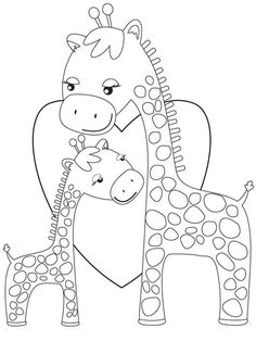 Cartoon Coloring Pages Giraffes Hugging
