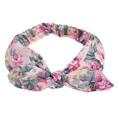 Women Ladies Girls Rose Floral Flower Rabbit Ears Headband Bow Knot Hair Band