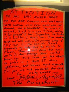 One of the framed signs on the Wounded Warrior floor at Walter Reed National Military Medical Center in Bethesda, Md.