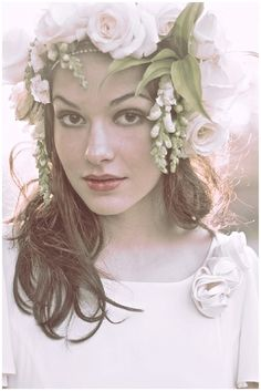 The Willow Dress - Vintage inspired wedding dress by Belle & Bunty. Cream silk Crepe with handmade corsages and real flower crown Crown Hairstyles, Wedding Hairstyles, Floral Headdress, Hair Garland, Handfasting, Vogue, Flowers In Hair, Flower Hair, Designer Wedding Dresses