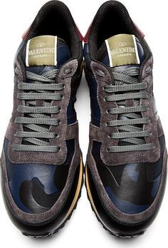 Valentino: Navy & Black Camo Sneakers