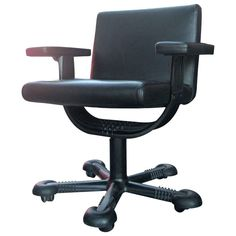 Rare Vico Magistretti Leather Office Chair | From a unique collection of antique and modern office chairs and desk chairs at https://www.1stdibs.com/furniture/seating/office-chairs-desk-chairs/