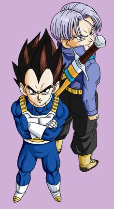 Vegeta and Mirai Trunks. Looks like the Prince of all Saiyans seems annoyed and Trunks seems pretty cheerful.
