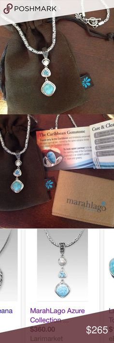 "MarahLago Larimar Azure Collection necklace. MarahLago Larimar Azure Collection necklace, with blue topaz & pearl. Comes with hardcase, dustbag, cleaning cloth, and info sheet as pictured. Hardly worn. Retails $360. (This item IS available. It was previously listed in my closet with an asking price typo; however, sold immediately upon posting without time for me to correct my error. That order was cancelled as a result, but Poshmark does not allow deletions of ""sold"" items even if…"
