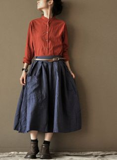 Dark Blue Loose skirts linen Chic skirts cotton skirts Big Pockets