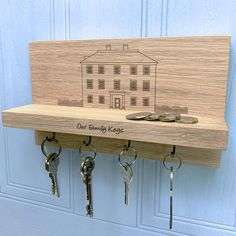 Personalised Manor House Key Holder by Urban Twist, the perfect gift for Explore more unique gifts in our curated marketplace. Wooden Key Holder, House Keys, On The High Street, Family Gifts, Natural Materials, Solid Oak, Contemporary, Modern, Key Holders