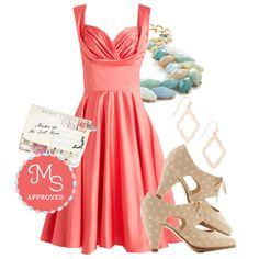 In this outfit: Aisle Be There Dress in Tulip, Berry Good Harvest Necklace in Breezy, Through the Post Clutch, Admirable Allure Earrings, Sincerely Irresistible Heel in Peach #fancy #prom #cocktail #specialoccasion #dresses #ModCloth #ModStylist #ootd #fashion
