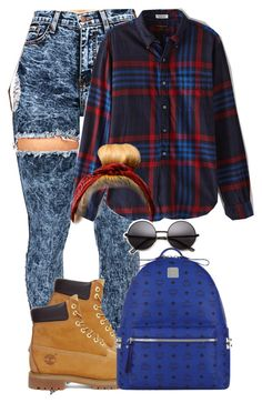 """School Outfit(06/01)"" by shaystaxx ❤ liked on Polyvore featuring Engineered Garments, Timberland and MCM"