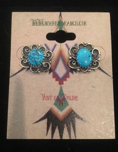 Vintage Sterling Turquoise Navajo Post Earrings by TheThunderBirdRanch on Etsy