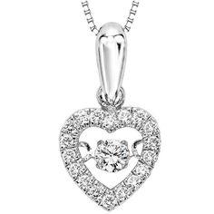 10k Rhythm of Love 1/5cttw Diamond Heart Shaped Necklace