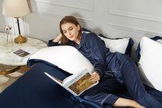 Luxury Dark Night Blue 3PCs Silk Bed Sheet Sets