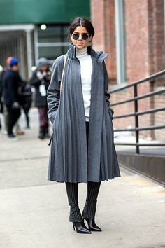 Proof The Olivia Pope Coat Works For Everyone #refinery29  http://www.refinery29.com/olivia-pope-coat#slide-13  The pleats make this charcoal coat a showpiece....