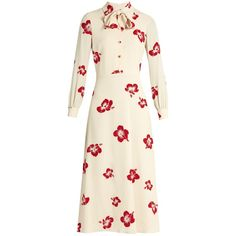 Saint Laurent Neck-tie silk-crepe midi dress (€4.415) ❤ liked on Polyvore featuring dresses, cream multi, cream midi dress, print midi dress, light blue dress, calf length dresses and yves saint laurent