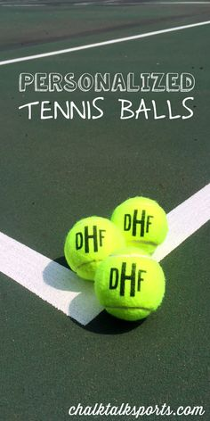 These monogrammed tennis balls are a great custom end of season gift from ChalkTalkSPORTS.com!