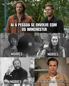 I don't speak what language this is but I get the gist and NO! cant you just leave us one Supernatural Tumblr, Supernatural Series, Supernatural Bunker, Supernatural Bloopers, Supernatural Tattoo, Supernatural Imagines, Supernatural Wallpaper, Spn Memes, Funny Memes