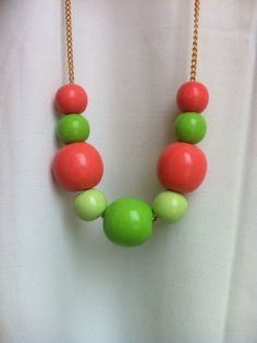 Wooden Bead Necklace / Hand Painted / Pink, Green, Mint