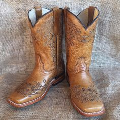 NEW little girls' light cognac brown Corral boots with floral embroidery! $113!  Stop by, visit www.facebook.com/chickelms or call 254-968-3920!  #western #chickelms #rodeo #cowboy #cowboycapital