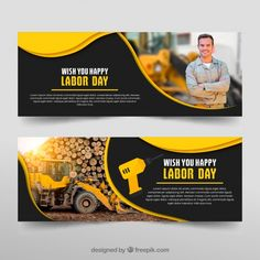Set van dag van de Arbeid banners in de hand getrokken stijl Gratis Vector Web Banner Design, Menu Design, Flyer Design, Logo Design, Web Design Examples, Calendar Layout, Magazine Design Inspiration, Photos Hd, Youtube Banners