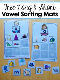 Free vowel sorting mats. Great way to practice short and long vowel sounds with kids in literacy centers or guided reading groups.