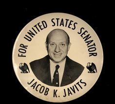 Oversized pin, Jacob K. Javits for United States Senator, circa 1956: Political Buttons Collections (B), (credit: Special Collections and University Archives, Stony Brook University).