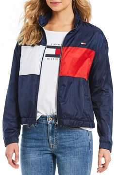 Shop for Colorblock Zip Front Windbreaker Jacket by Tommy Hilfiger at ShopStyle. Sueter Tommy Hilfiger, Mode Tommy Hilfiger, Tommy Hilfiger Mujer, Tommy Hilfiger Windbreaker, Tommy Hilfiger Outfit, Tommy Hilfiger Fashion, Tommy Hilfiger Jackets, Tommy Hilfiger Women, Windbreaker Outfit