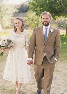 Lace Wedding Dresses, Vintage Wedding Dresses, Fashion, Real Weddings, Wedding Style, brown, Men's Formal Wear, Rustic Real Weddings, Spring...