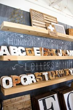 Handmade reclaimed wood letters/type // Visit to Harp Design + Co