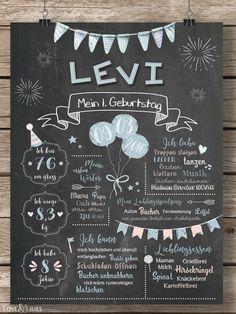 LoveAndLilies.de | Baby Chalkboard zum 1. Geburtstag für Jungen in hellblau/peach - Geburtstagstafel / Plakat für den Kindergeburtstag im Retro Design