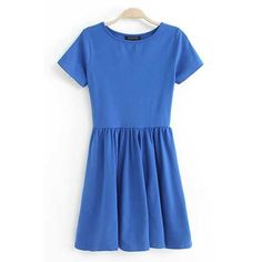 Blue Pleated Short Sleeve Casual Dress ($9.99) ❤ liked on Polyvore featuring dresses, blue, blue embellished dress, short sleeve flare dress, blue dress, embellished dress and blue short sleeve dress