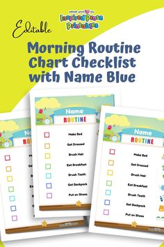 Make mornings less of a battle with this adorable, editable morning routine chart. #Editable#MorningRoutineChart #withNameBlue#kids #daily #schedule #dailywork