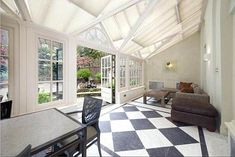 Entertaining: Nigella Lawson's new home has a spacious conservatory for post-dinner drinks Black And White Tiles, Black White, Nigella Lawson, Domestic Goddess, Conservatory, Luxury Homes, My House, Building A House, Architecture Design
