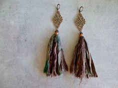 Sari Silk Earrings Boho Jewelry Gypsy Style door GypsyInMyBlood, $20.00