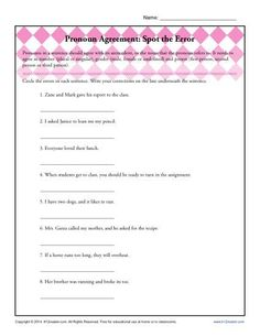 Pronouns and Antecedents Worksheets – careless.me