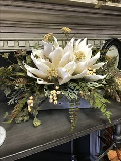 Winter floral arrangement ideas Winter Floral Arrangements, Funeral Flower Arrangements, Christmas Arrangements, Funeral Flowers, Christmas Decorations, Floor Vase Decor, Vases Decor, Winter Centerpieces, Floral Centerpieces