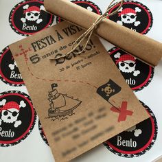 Festa Pirata Vintage by Design Festeiro Mickey Birthday, Pirate Birthday, Pirate Theme, Pirate Invitations, Birthday Party Invitations, Pirate Kids, Party Decoration, Happy B Day, Get The Party Started