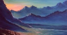How to draw free oil painting tutorials | Sunset end of the day at Mountains | Paint with Dilip Art - Welcome to Dilip Art