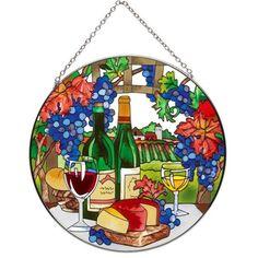 SunCatcher Wine Country Hand Painted Round Art Glass Window