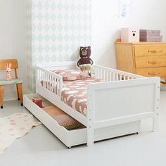 Moderne Lit dEnfant Toddler Avec Matelas Couleur Blanc Motif Pelle Jaune V/éhicules De Construction Dimensions 140x70 Chambre Pour Les Enfants Meubles Pour Enfants Confortable Fonctionnel Lit Simple