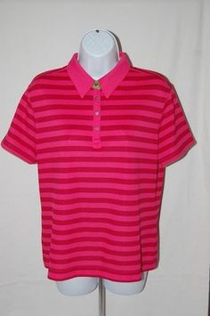 NIKE GOLF Polo Shirt Fit Dry Sz Large Pink Raspberry Striped Polo Golf  #Nike #PoloShirt #Casual