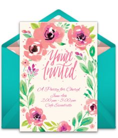 "Browse tons of free online invitations. We love this free ""Summer Blossoms"" invite, perfect for inviting friends to a summer birthday, cocktail party, bridal shower and more! Beautiful hand-illustrated design. #handmade"