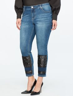 Sequin Patched Jean Medium Wash