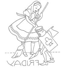 Embroidery transfer design.  Days of the Week.  DOTW.  Friday.  Alice in Wonderland.  Knave of Clubs.