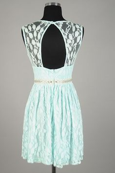 Stella- Lace Keyhole Back Dress with Beaded Belt in Mint