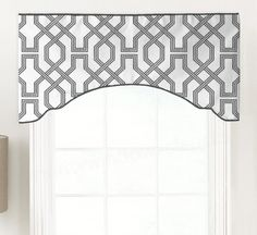 Custom Faux Cornice Valance, Fake Pelmet, Invisible Rod Pocket and Contrast Piping, Modern Lattice Geometric - Scott Living Ander Custom Valances, Custom Curtains, Curtain Shop, Curtain Rods, Cornice, Valance Curtains, Plywood Furniture, Hollywood Regency, Desks For Small Spaces