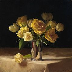 Roses and Tulips in a Silver Cup: Sarah K. Lamb