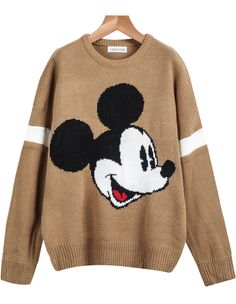 Khaki Long Sleeve Mickey Print Knit Sweater 28.33