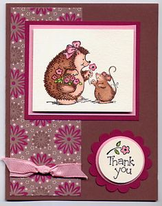 Splitcoaststampers FOOGallery - Hedgehog Happiness Thank you Penny Black Cards, Penny Black Stamps, Scrapbook Cards, Scrapbooking, Hand Stamped Cards, Candy Cards, House Mouse, Animal Cards, Copics