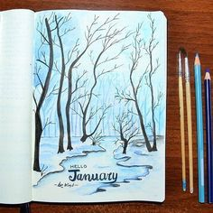 Beautiful monthly cover page. #bujo #bulletjournal #monthlycover #art #bulletjournaling #january #creativity #create