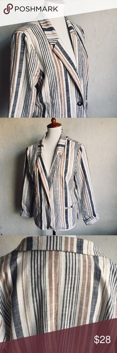 """JustFab Viscose/Linen Blend Striped Jacket 1X Lined, striped blazer, one button closure, two front faux pockets.  23""""x23""""  🌷Thank you for visiting my closet! JustFab Jackets & Coats Blazers"""