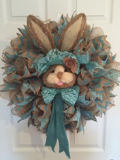 Easter Wreath, Natural Bunny Face Wreath, Easter Bunny Wreath, Easter Bunny Head Wreath, Burlap Deco Mesh Wreath, Wreath, Burlap by RoesWreaths on Etsy https://www.etsy.com/listing/267429955/easter-wreath-natural-bunny-face-wreath